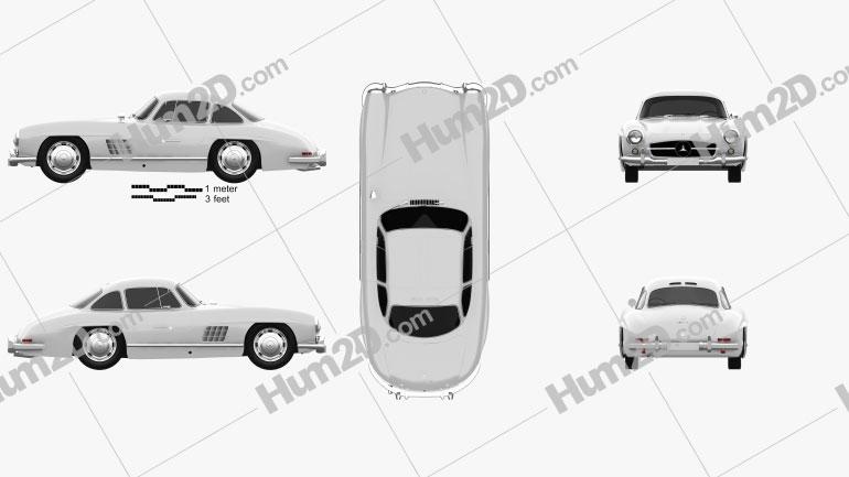 Mercedes-Benz 300 SL Gullwing 1954 Clipart Image