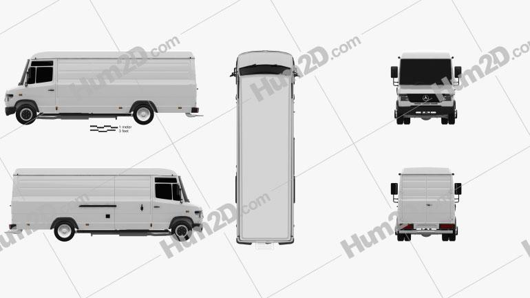 Mercedes-Benz Vario Panel Van LWB High Roof 2011 Clipart Image