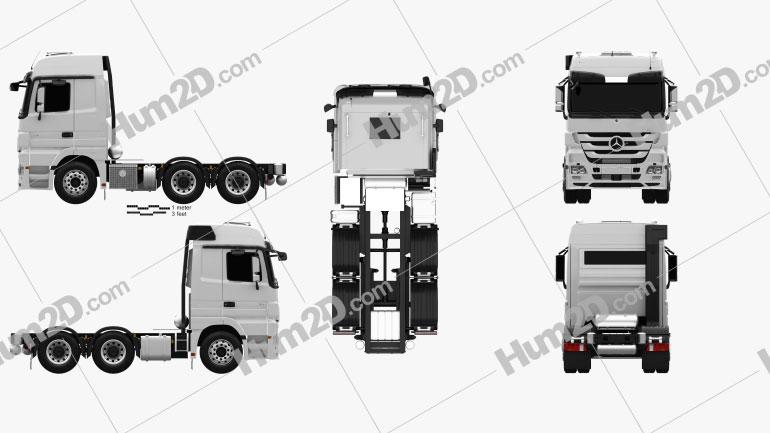 Mercedes-Benz Actros Tractor 3-axle 2011 clipart