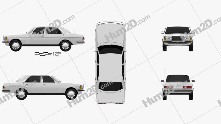 Mercedes-Benz E-Class W123 sedan car clipart