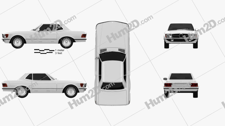Mercedes-Benz SL-Class R107 coupe 1972 car clipart