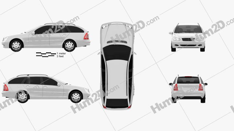 Mercedes-Benz C-Class (W203) estate 2005 Clipart Image