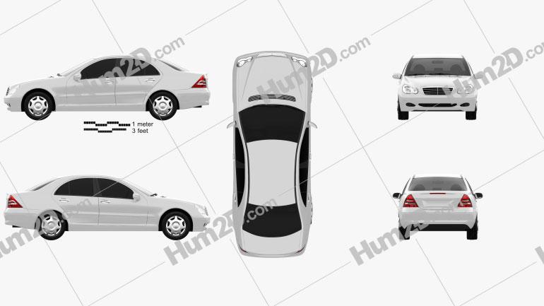 Mercedes-Benz C-class (W203) sedan 2005 Clipart Image