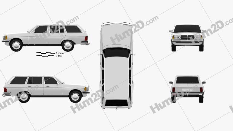 Mercedes-Benz E-Class W123 estate 1975 car clipart
