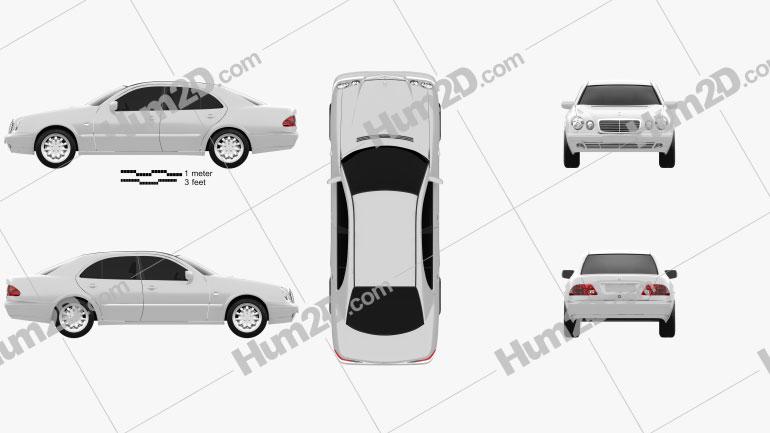 Mercedes-Benz E-Class sedan (W210) 1996 car clipart