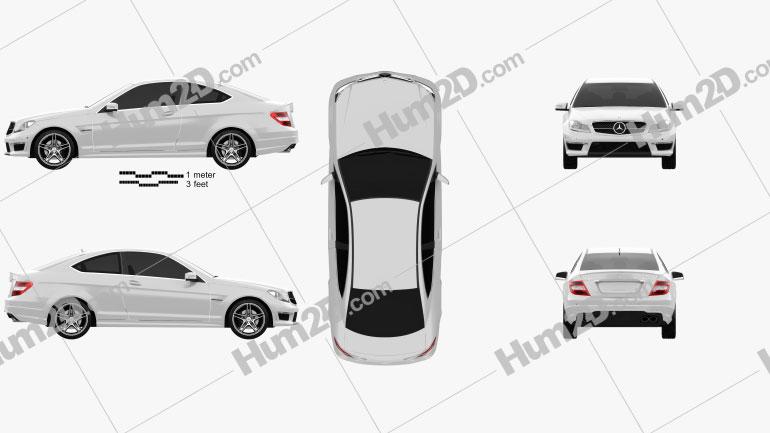Mercedes-Benz C-Class 63 AMG coupe 2012 Clipart Bild