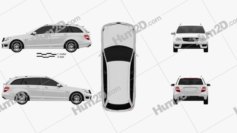 Mercedes-Benz C-Class 63 AMG estate 2012 Clipart Image
