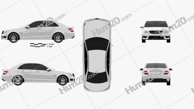 Mercedes-Benz C-Class 63 AMG sedan 2012 car clipart
