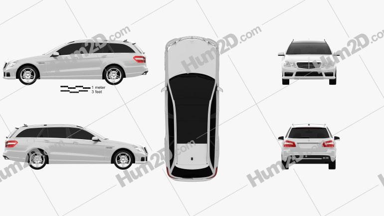 Mercedes-Benz Classe E 63 AMG estate 2010 car clipart