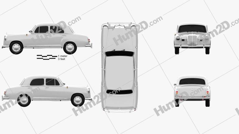 Mercedes-Benz Ponton 180 W120 1953 car clipart