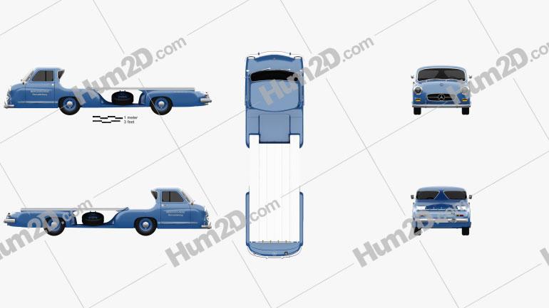 Mercedes-Benz Blue Wonder Renntransporter 1954 clipart