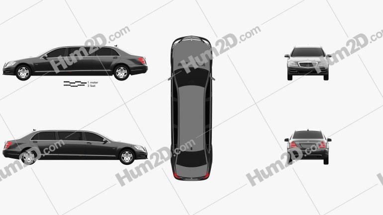 Mercedes-Benz S-Class (W221) Pullman 2012 car clipart