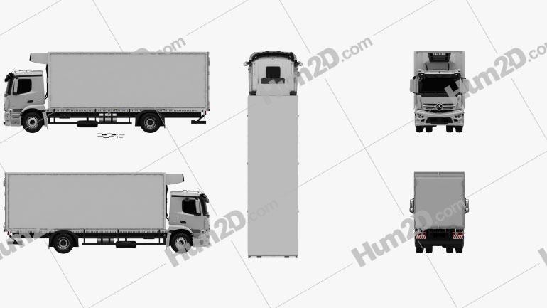 Mercedes-Benz Antos Box Truck 2012 Clipart Image