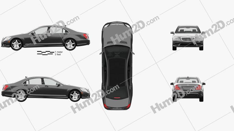 Mercedes-Benz Classe S (W221) com interior HQ 2013 Imagem Clipart