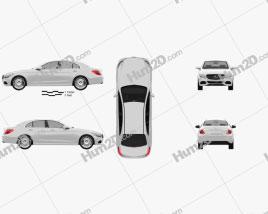 Mercedes-Benz C-Class (W205) sedan 2014 car clipart