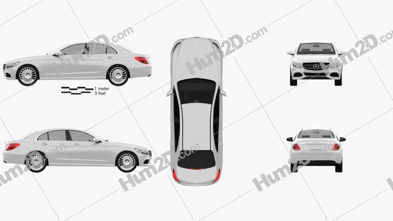 Mercedes-Benz C-Class (W205) sedan 2014 Clipart Image