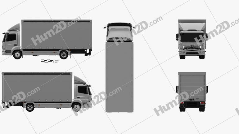 Mercedes-Benz Atego Box Truck 2013 clipart
