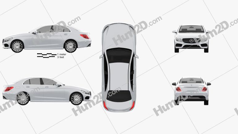 Mercedes-Benz C-Class AMG Line (W205) sedan 2014 Clipart Image