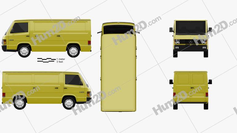 Mercedes-Benz MB100 Panel Van 1988 Clipart Image