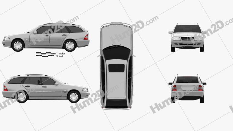 Mercedes-Benz C-Class (S202) estate 1997 Clipart Image