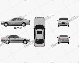 Mercedes-Benz C-Class (W202) sedan 1997 car clipart