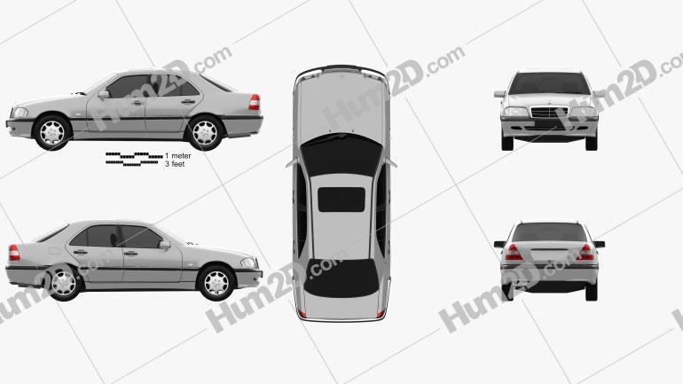 Mercedes-Benz C-Class (W202) sedan 1997 Clipart Image