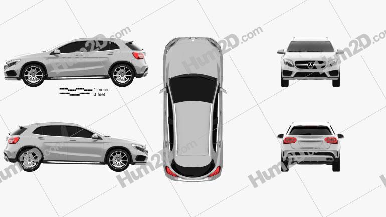 Mercedes-Benz GLA-Class 45 AMG 2014 car clipart