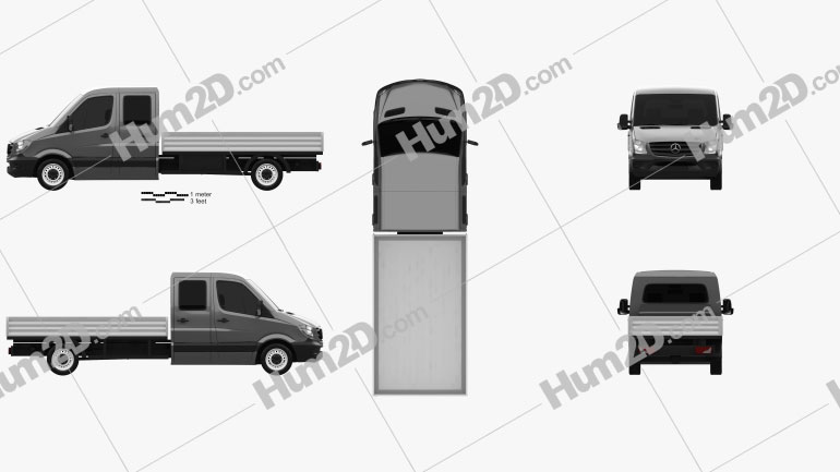 Mercedes-Benz Sprinter Drop Side Double Cab 2013 clipart