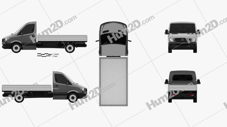 Mercedes-Benz Sprinter Drop Side Single Cab 2013 clipart
