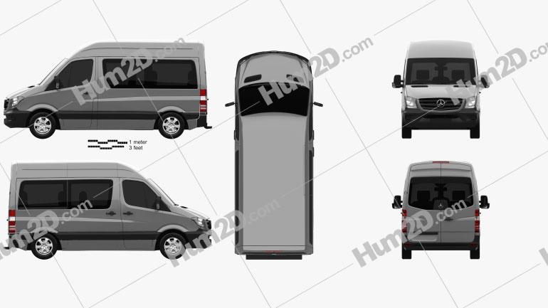Mercedes-Benz Sprinter Passenger Van CWB HR 2013 clipart