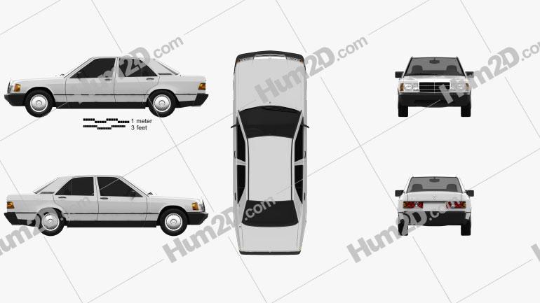 Mercedes-Benz 190 (W201) 1982 Clipart Image
