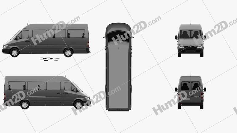 Mercedes-Benz Sprinter (903) Passenger Van L3H2 2000 clipart