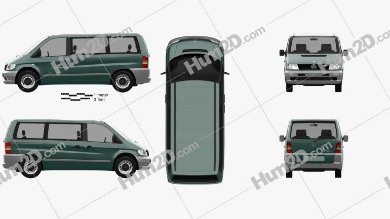 Mercedes-Benz Vito (W638) Passenger Van 1996 Clipart Bild