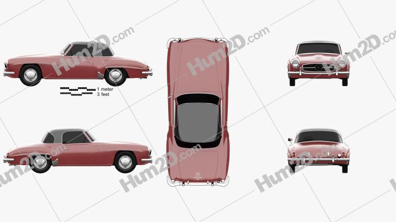 Mercedes-Benz SL-class (R121) hardtop 1955 car clipart