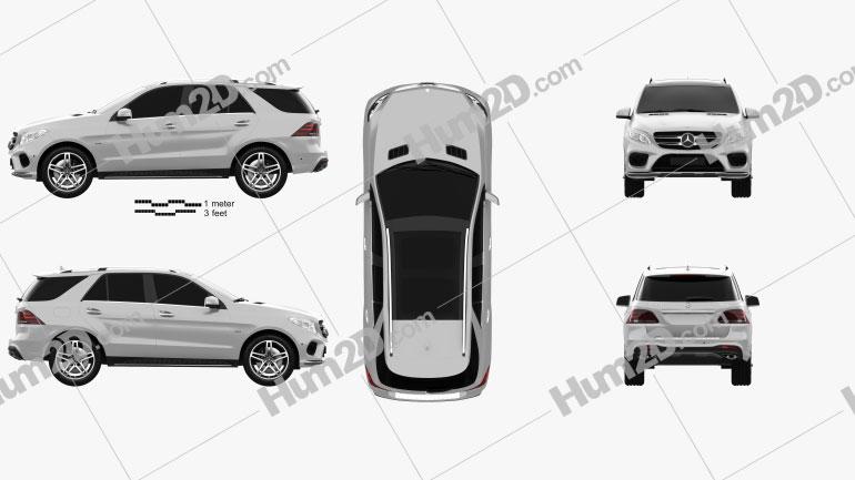 Mercedes-Benz GLE-Klasse (W166) AMG Line 2014 Clipart Bild