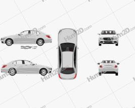 Mercedes-Benz C-class (W205) sedan with HQ interior 2014 car clipart