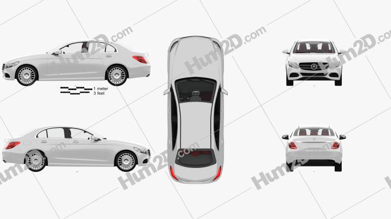 Mercedes-Benz C-class (W205) sedan with HQ interior 2014 Clipart Image