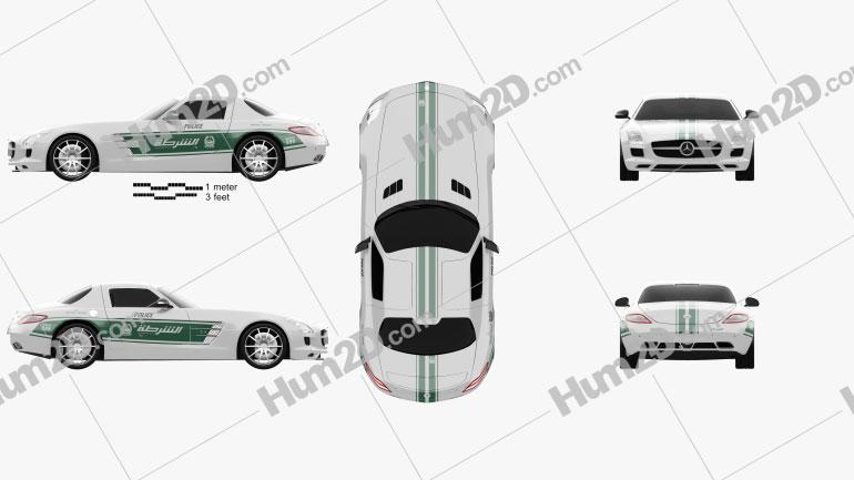 Mercedes-Benz SLS-class (C197) AMG Police Dubai 2013 car clipart