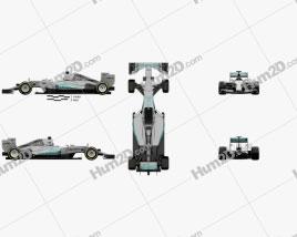 Mercedes-Benz F1 W06 Hybrid 2015 car clipart