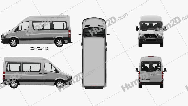 Mercedes-Benz Sprinter Passenger Van SWB HR with HQ interior 2013 clipart