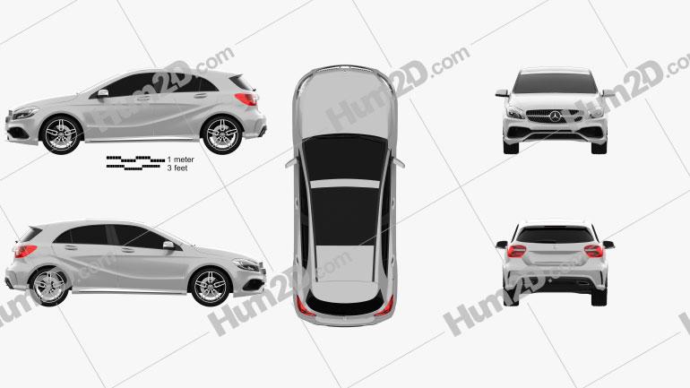 Mercedes-Benz A-Class (W176) AMG Line 2016 car clipart
