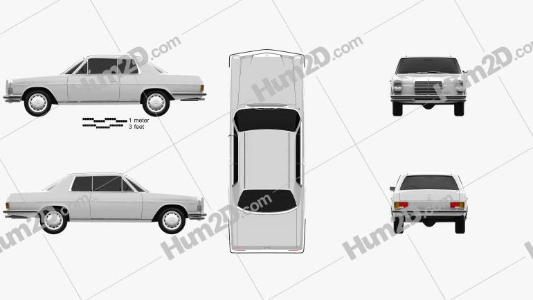 Mercedes-Benz W114 1968 car clipart