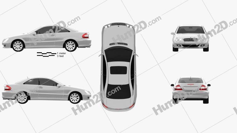 Mercedes-Benz CLK-Class (C209) Coupe 2005 Clipart Image