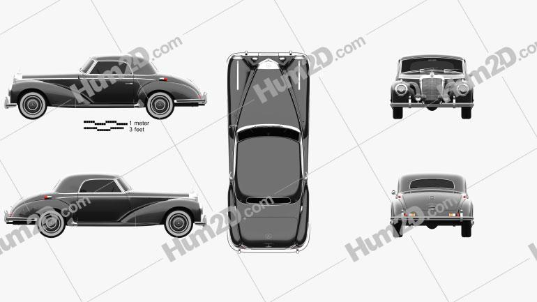 Mercedes-Benz 300 (W188) S Coupe 1951 car clipart
