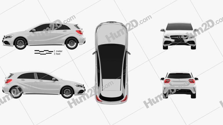 Mercedes-Benz A-Class (W176) AMG 2015 car clipart