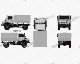 Mercedes-Benz Unimog U4000 Flatbed Canopy Truck 2000