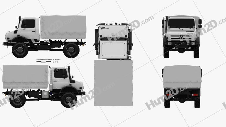 Mercedes-Benz Unimog U4000 Flatbed Canopy Truck 2000 clipart