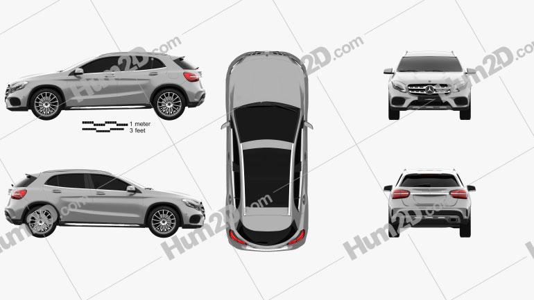 Mercedes-Benz GLA-Class (X156) AMG Line 2017 car clipart