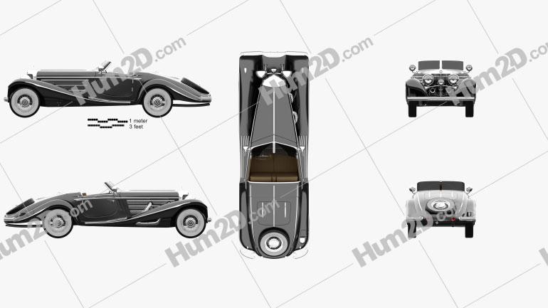 Mercedes-Benz 540K 1936 car clipart