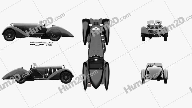 Mercedes-Benz 710 SSK Trossi Roadster 1930 car clipart